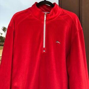 Tommy Bahama Red Velour 1/4-Zip Pullover KILLER!